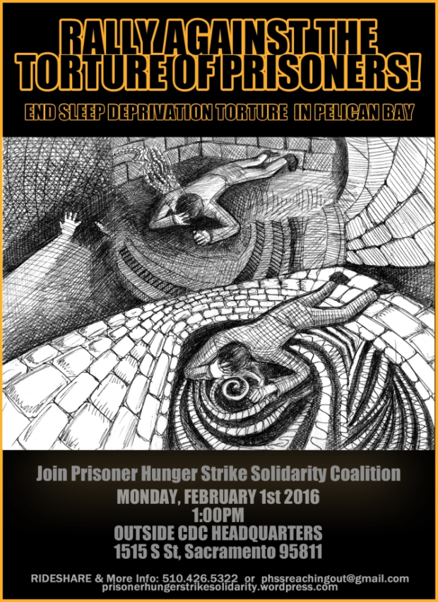 Poster announcing rally against the torture of prisoners in the Pelican Bay SHU by sleep deprivation