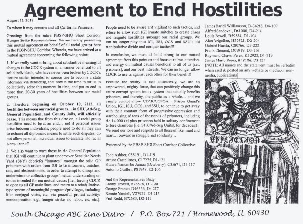 picture of the text of the Agreement to End Hostilities (2012)